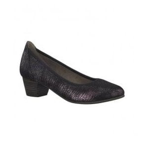 Womens Black Metallic Slip-On Court Shoes 8-22361-20 097