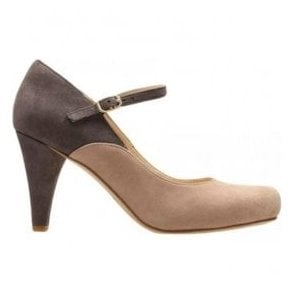 Womens Dalia Lily Nude Combi Suede Mary Jane Court Shoes