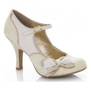 Womens Maria Cream/Gold Court Shoes 09155