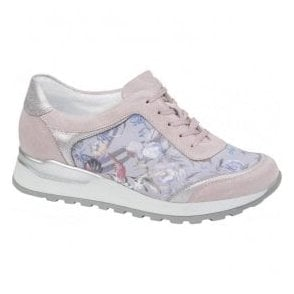 Womens Hiroko Soft Rose/Grey Lace Up Trainers H64006 300 264