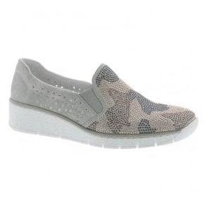 Womens Piza Grey Casual Leather Slip On Flat Shoes 537T1-40