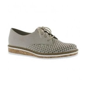 Womens Namur Grey Leather Lace-Up Shoes N0357-40