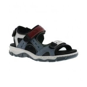 Womens Strike Blue Combi Leather Velcro Sandals 68872-13