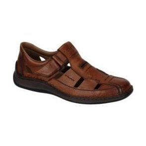 Mens Clarino Brown Leather Velcro Shoes 05284-24
