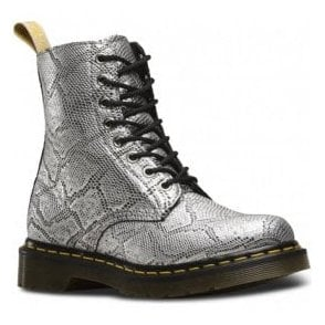 Womens Vegan 1460 Pascal Silver Metallic Snake 8-Eye Boots 23308040