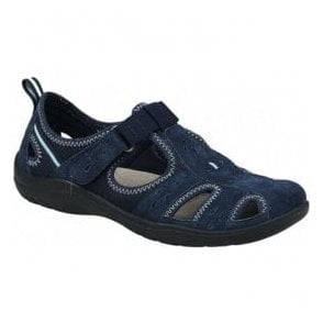 Womens Cleveland Navy Casual Velcro Open Shoes 28052