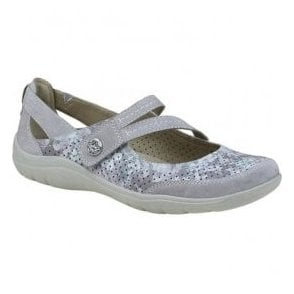 Womens Maryland Silver Grey Strap Over Casual Shoes 28068