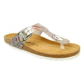 Womens Abia Silver Multi Toe-Post Mule Sandals 0027
