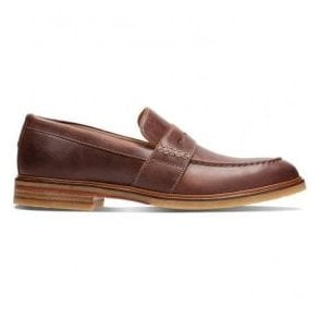 Mens Clarkdale Flow Mahogany Leather Loafers 26131753