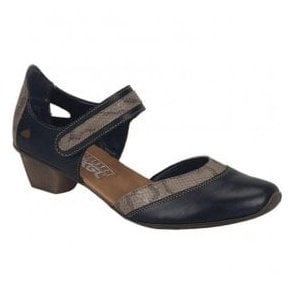 Cristallin Black Combi Leather Bar Shoes 49780-00