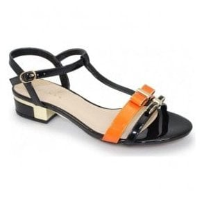 Womens Louvre Black T-Bar Sandals JLE073 BK