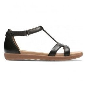 Womens Un Reisel Mara Black Leather T-Bar Sandals 26133258