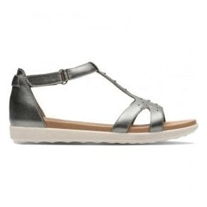 Womens Un Reisel Mara Pewter Metallic Leather T-Bar Sandals 26133243