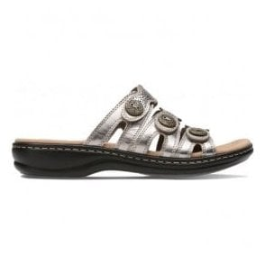 Womens Leisa Grace Pewter Metallic Leather Mule Sandals 26134112