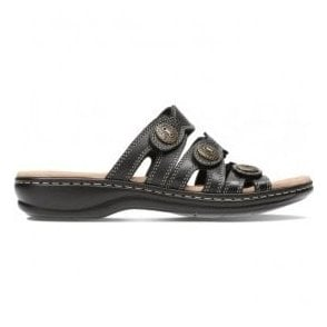 Womens Leisa Grace Black Leather Mule Sandals 26134117