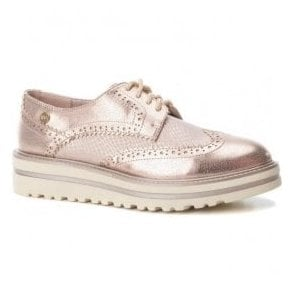 Womens 47799 Nude Lace-Up Oxford Shoes