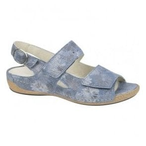 Womens Heliett Blue Floral Velrco Sandals 342011 168 206