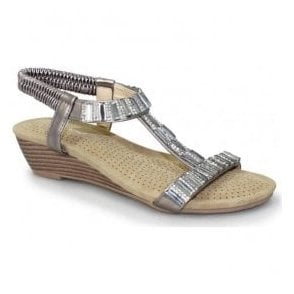 Womens Reynolds Pewter Wedge Sandals JLH877 PW