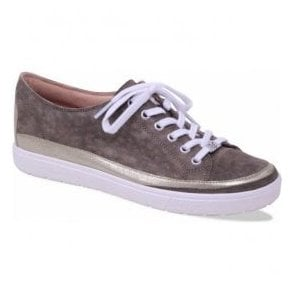 Womens Manou Khaki Leather Lace Up Trainers 9-23654-20 731