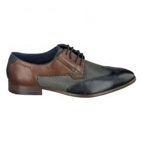 Mens Patrizio Dark Blue/Grey Lace Up Derby Shoes 311-41902-1111-4115