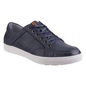 Mens Cheltenham Navy Leather Lace-Up Trainers