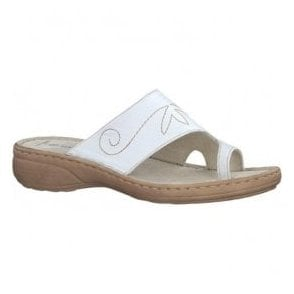Womens White Toe Loop Mules 2-2-27900-20 100