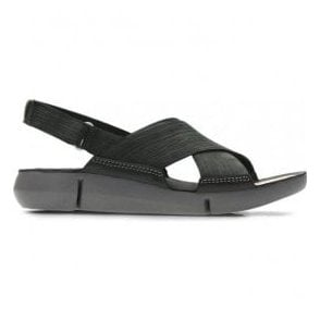 Womens Tri Chloe Black Nubuck Velcro Sandals 26131276