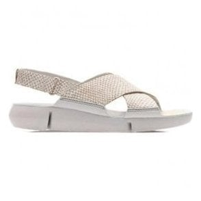Womens Tri Chloe Metallic Silver Leather Velcro Sandals 26131294