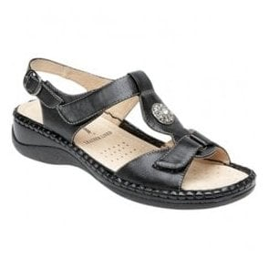 Womens Black Twin Touch T-Bar Velcro Sandal L594A