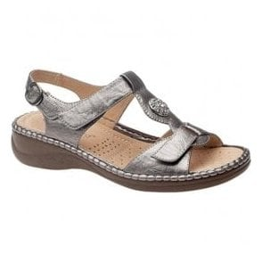 Womens Pewter Twin Touch T-Bar Velcro Sandals L594FS