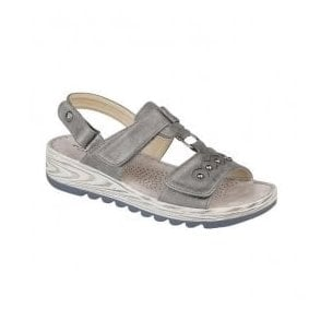 Womens Metallic Silver Tripple Strap T-Bar Velcro Sandals L5056FS