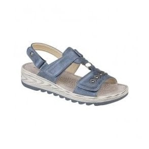 Womens Metallic Blue Tripple Strap T-Bar Velcro Sandals L5056C
