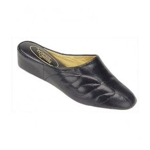 Womens Mahon Black Leather Slippers