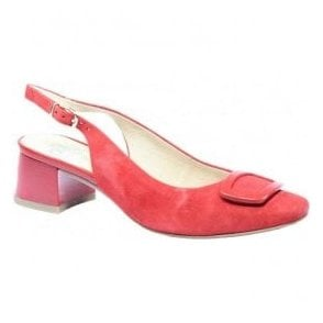 Womens Elodie Red Suede Sling Back Shoes 9-29500-28 524
