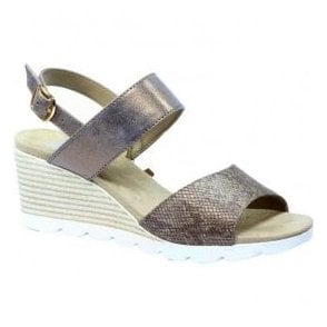 Womens Elena Brown Metallic Combi Wedge Sandals 9-28701-28 371