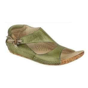 Womens Cartier Green Leather Elasticated Button Sandals