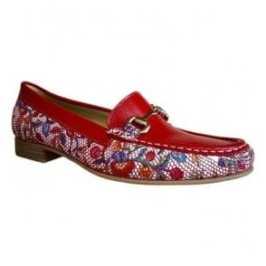 Womens Ema Narbona Red Slip On Moccasin Shoes 3961