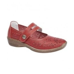 Womens Red Touch Fastening Bar Shoes L394D