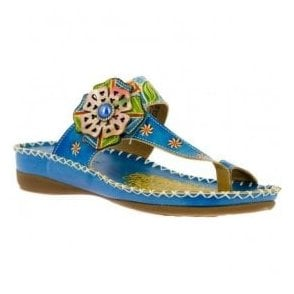 Womens Brive 80 Turquoise Floral Toe Loop Sandals