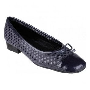Womens Andros Navy Patent/Suede Ballerina Shoes