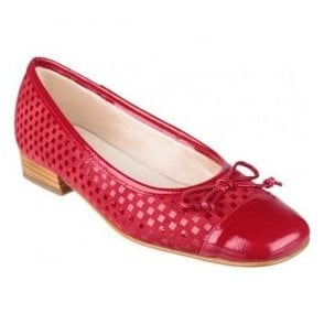 Womens Andros Red Patent/Suede Ballerina Shoes