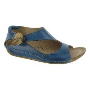 Womens Cartier Denim Leather Elasticated Button Sandals