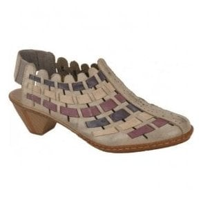 Womens Sina Taupe, Purple & Navy Lattice Leather Sling-Back Shoes 46778-62
