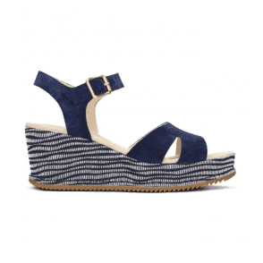 Womens Akilah Eden Navy Combi Suede Wedge Sandals 26130954