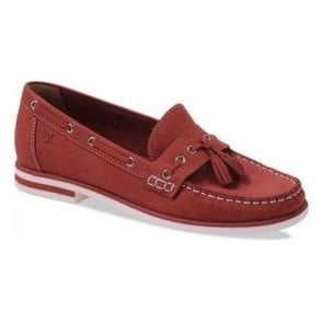 Womens Gaby Red Nubuck Tasselled Moccasins 9-24205-20 544