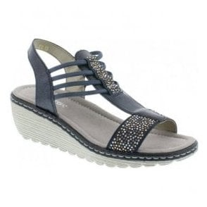 Womens Brillastic Navy Leather Elasticated Sandals K3747-14