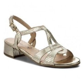 Womens Light Gold Reptile Sling Back Sandals 9-28201-20 953