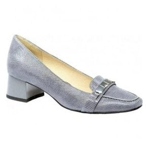 Womens Elodie Grey Leather Slip On Court Shoes 9-24301-28 209