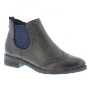 Womens Cristallin Grey Leather Ankle Boots D8581-45