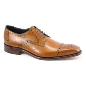 Mens Byron Tan Leather Shoes With Punch Pattern
